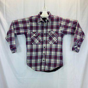 Vintage Lined Fleece Plaid Trucker Shirt - Men's M
